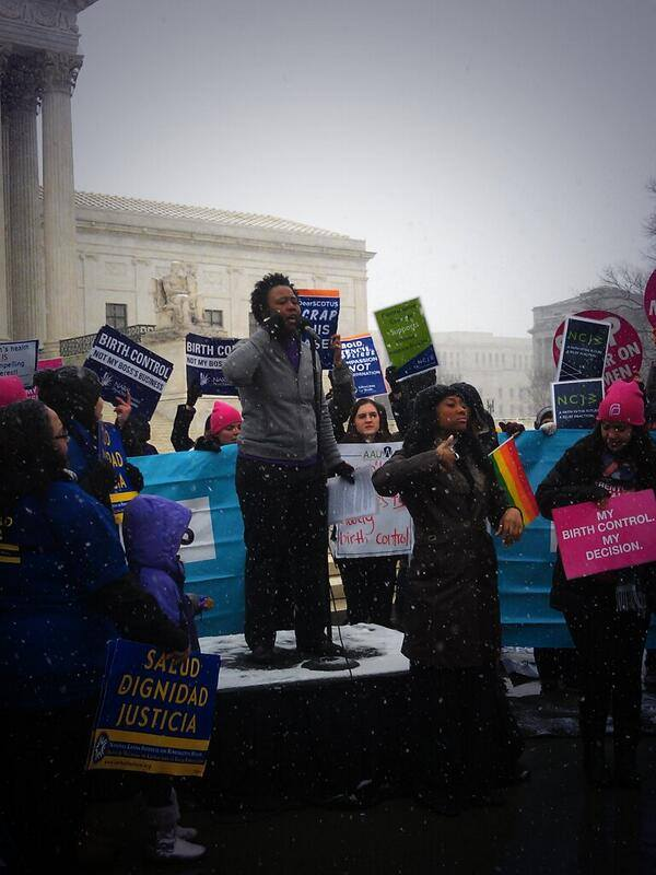Task Force Deputy Executive Director Darlene Nipper at the Hobby Lobby rally in front of the Supreme Court.